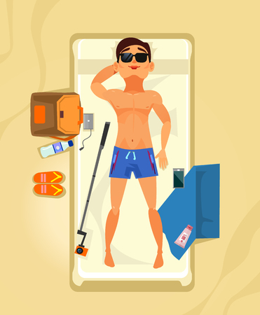 Happy smiling man character sunbathing and relaxing. Summer time holiday vacation beach line resort flat cartoon graphic design concept illustration