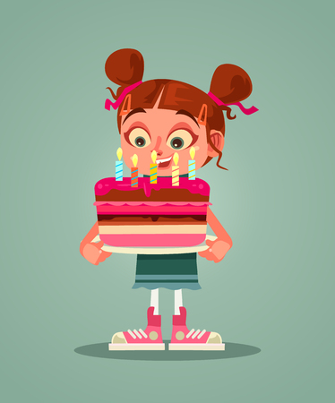 Happy smiling girl holding cake with candle and making wishes. Happy birthday celebrating flat cartoon graphic design isolated illustration
