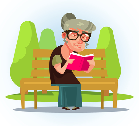 Glückliche lächelnde alte Frau, die auf einer Bank in einem Park sitzt. Flache Karikaturillustration des Vektors