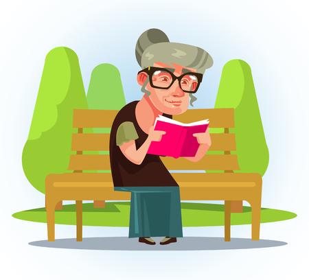 Szczęśliwy uśmiechający się stara kobieta siedzi na ławce w parku. Ilustracja kreskówka płaski wektor