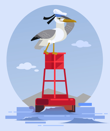 Happy smiling albatross bird character in captain hat sitting on lighthouse and looking. Vector flat cartoon illustration Illustration