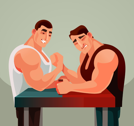 Competitions armwrestling game two athletes man characters compete wrestling arms. Vector flat cartoon illustration