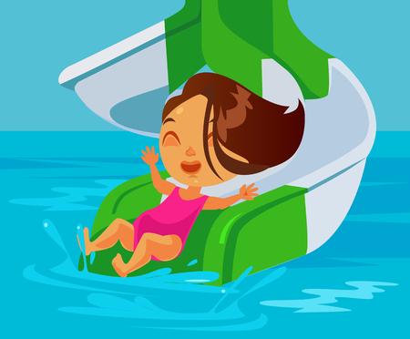 Happy smiling little girl riding waterslide at aqua park. Vector flat cartoon illustration