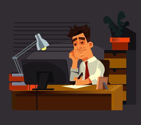 Sad unhappy office worker man hard working late. Vector flat cartoon illustration