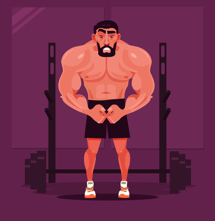 Strong sport man bodybuilder character posing. Vector flat cartoon illustration Illustration