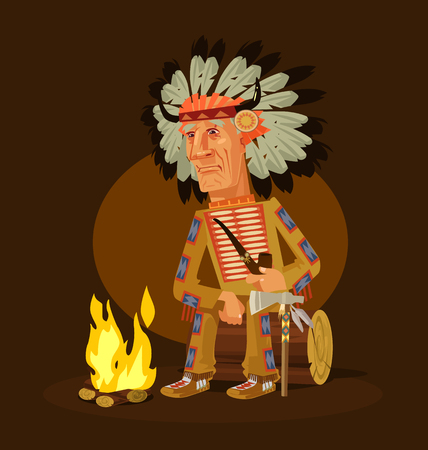 Old american indian chief character sitting near a fireplace and smoking pipe. Vector flat cartoon illustration