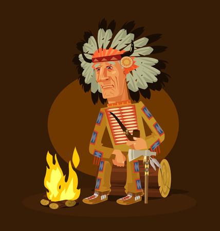 Vecchio personaggio capo indiano americano seduto vicino a un camino e tubo di fumo. Illustrazione di cartone animato piatto vettoriale