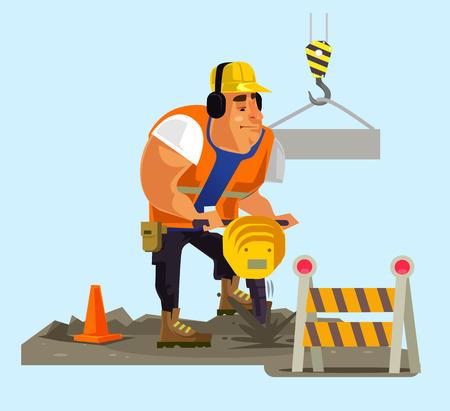 Builder worker man character working. Vector flat cartoon illustration Иллюстрация