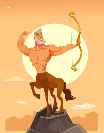 Carácter de centauro fuerte con arco. Ilustración de dibujos animados plano de vector
