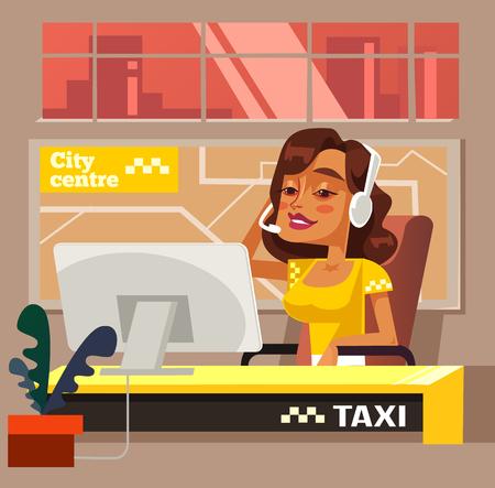 Taxi call center office woman character. Vector flat cartoon illustration