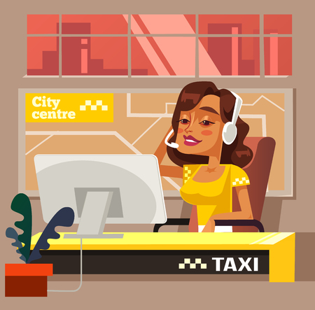 Taxi call center office woman character. Vector flat cartoon illustration 写真素材 - 107096777