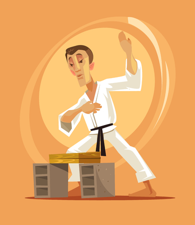 Karate fighter man character. Vector flat cartoon illustration