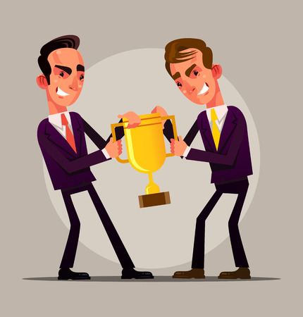 Two angry businessman office workers. Competition battle concept vector cartoon illustration
