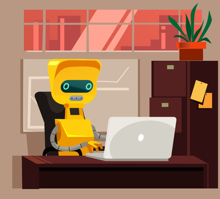 Smart robot sitting and working at computer. Artificial intelligent modern technology vector cartoon illustration