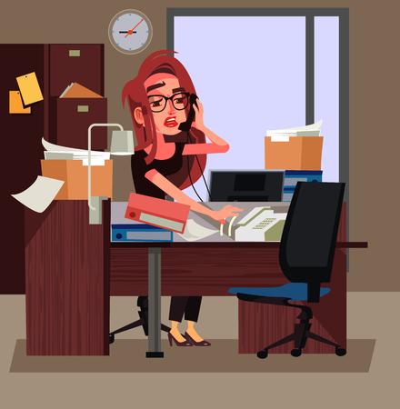 Femme d'affaires de travailleur de bureau fatigué stressé travaillant dur. Illustration de dessin animé de jours de travail vector