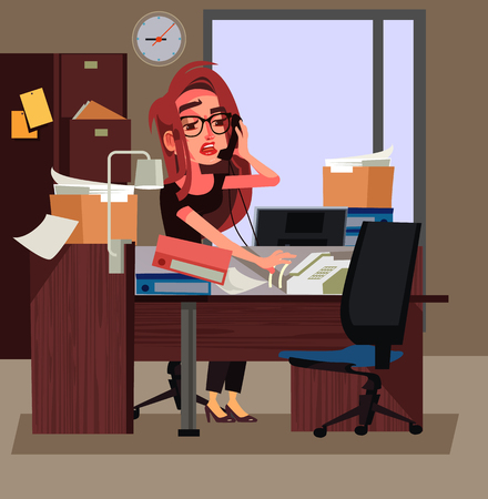 Stressed tired office worker business woman hard working. Work days vector cartoon illustration