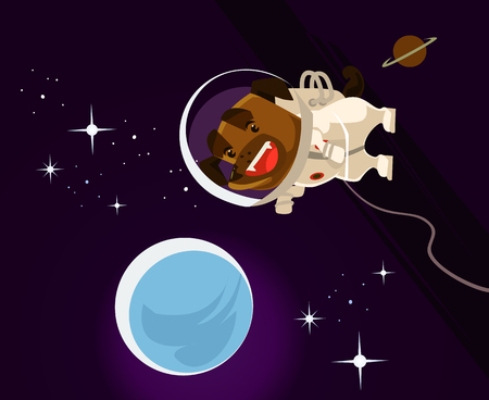 Happy smiling dog astronaut character in space wearing spacial suit. Discovering the universe concept vector cartoon illustration Illustration