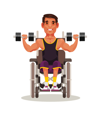 Disabled sport man sitting in wheelchair and doing exercise with dumbbell. Strong spirit vector cartoon illustration