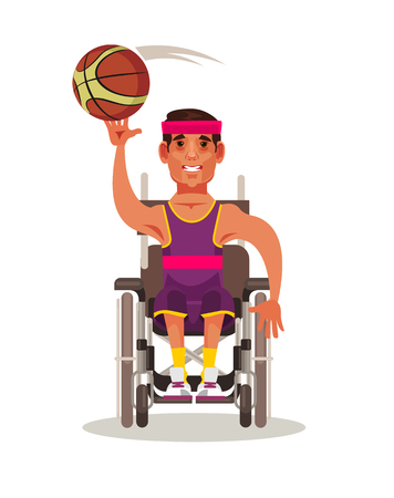 Happy man in basketball game. Paralympic competition concept vector cartoon illustration Illustration