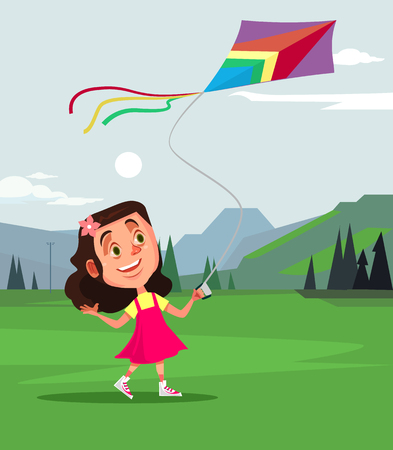 Happy smiling little girl. Summer spring time concept vector cartoon illustration Illustration