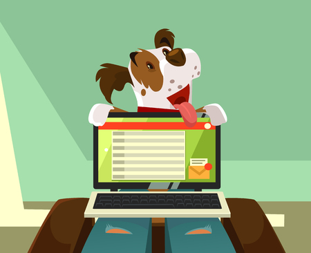 Happy smiling dog character trying pay owner attention on itself. Animal friendship concept vector cartoon illustration Illustration