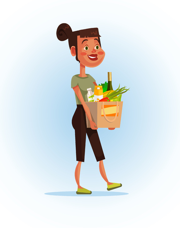 Happy smiling woman holding a bag full of food. Nutrition vector cartoon illustration