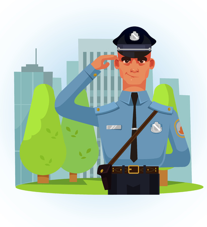 Happy smiling policeman character greeting saluting with hand. Low vector cartoon illustration