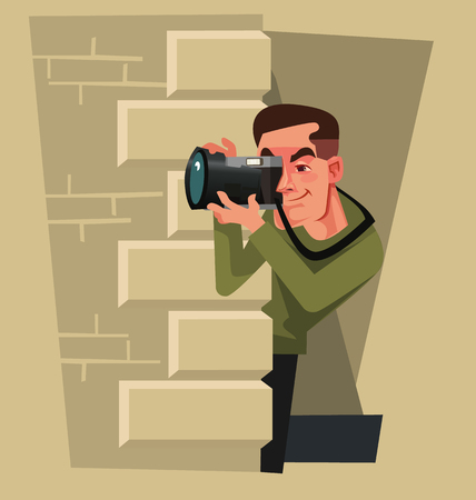 Journalist photographer paparazzi man hiding and trying to take photo of celebrity. Yellow press vector cartoon illustration