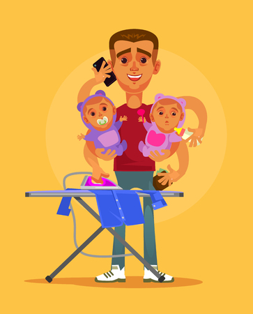 Happy smiling super hero multitasking housewife husband character doing all home. Parenting and domestic family life style concept vector cartoon illustration