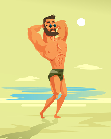 Strong athletic man character posing on the beach. Travel summer resort vacation concept vector cartoon illustration