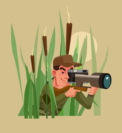 Photo hunter man character sitting in a bush and taking photo of animals and nature. Vector cartoon illustration