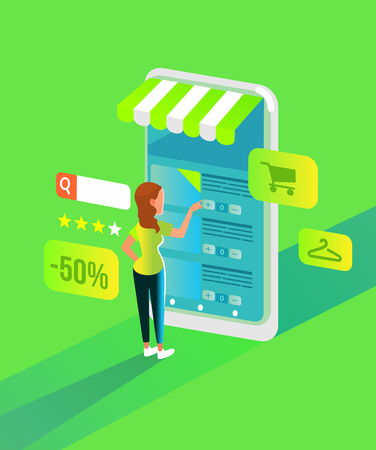 Happy smiling woman. Online shopping concept flat cartoon graphic design illustration