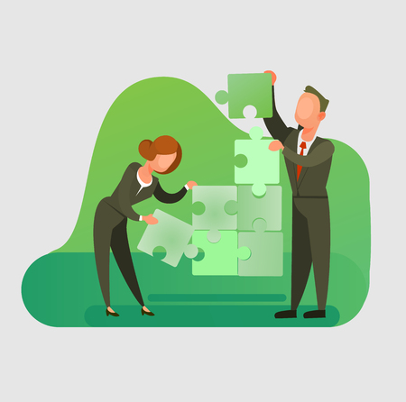 Man and woman office workers pile puzzle. Teamwork cooperation concept flat cartoon graphic design illustration Illustration