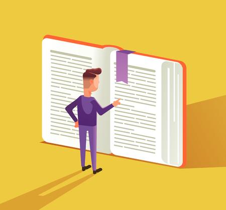 Slimme man teken groot boek lezen. Onderwijs concept platte cartoon grafisch ontwerp illustratie