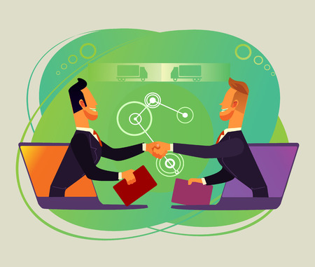 Two businesspeople shaking hands by internet. Online business cooperation concept flat cartoon graphic design illustration