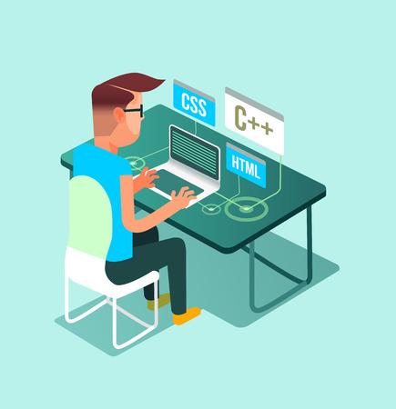 Programmer freelancer worker man character work at home laptop computer pc. Freelance job concept flat cartoon graphic design illustration Illustration
