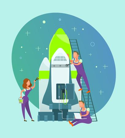People start building a project. Business teamwork concept flat cartoon graphic design illustration