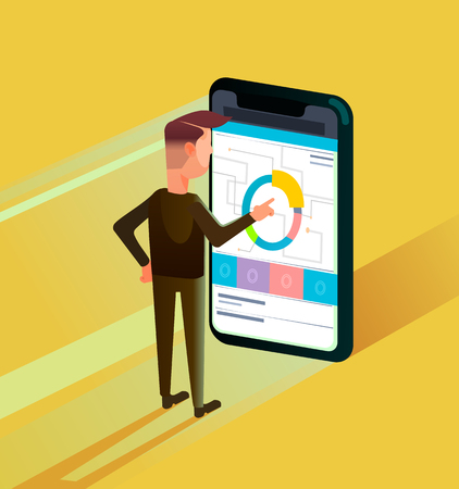 Businessman office worker man character using smartphone. Online business strategy concept flat cartoon graphic design illustration