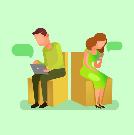 Man and woman people chatting by smartphone website. Online communication concept flat cartoon graphic design illustration Illustration