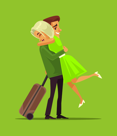 Business trip. Family lovers vector cartoon illustration