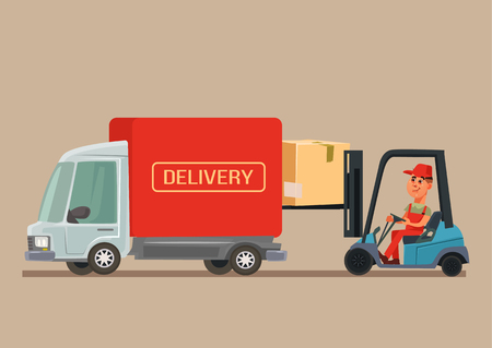 Delivery service van car. Vector cartoon illustration