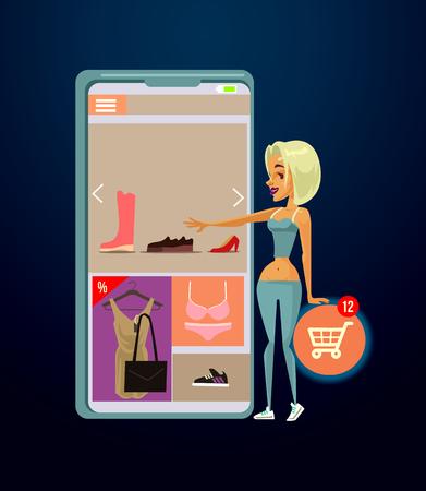 Woman consumer character shopping online. E-shopping modern technology vector cartoon illustration
