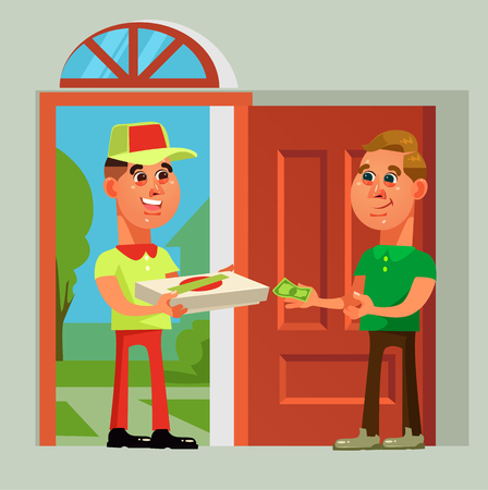 Pizza delivery man bring food to consumer character. Take away fast food vector cartoon illustration