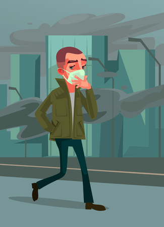 Man passer character. Environmental pollution. Vector cartoon illustration
