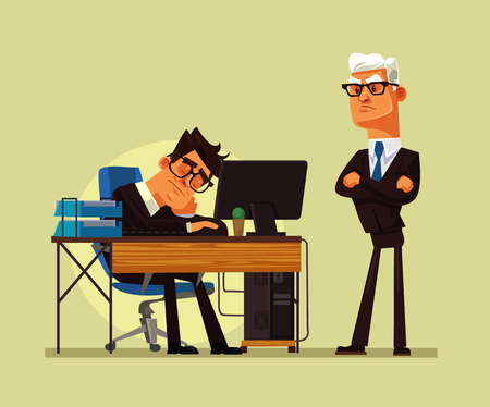 Tired office worker manny sleeping at workplace and angry boss yelling at him. Hard work vector cartoon illustration