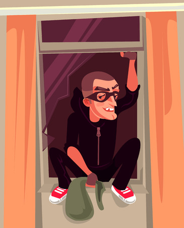 Man thief character climbs out window. Criminal vector cartoon illustration Çizim