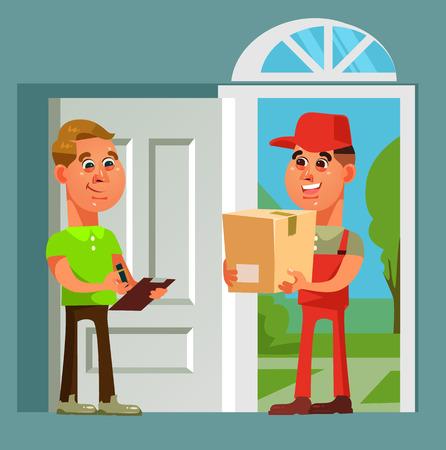 Le caractère de l'homme de courrier a apporté le consommateur de colis. Illustration de dessin animé de vecteur de livraison rapide achats en ligne