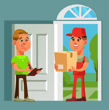 Courier man character brought parcel consumer. Fast online shopping delivery vector cartoon illustration