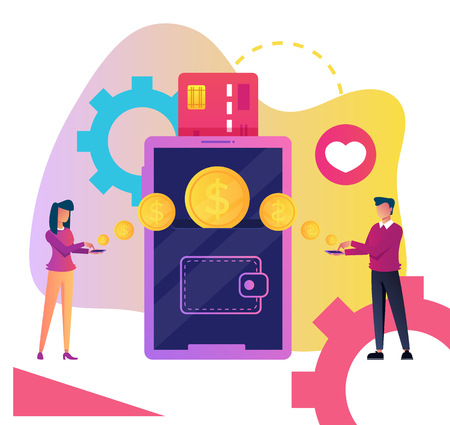Two people man and woman character making money transfer to each other. Online web internet technology payment by smartphone screen interface device concept. Vector cartoon graphic design isolated illustration Stock Vector - 108393677