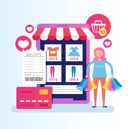 Woman consumer buyer. Online web page internet shopping e commerce mobile phone app service device. Vector cartoon graphic design isolated illustration